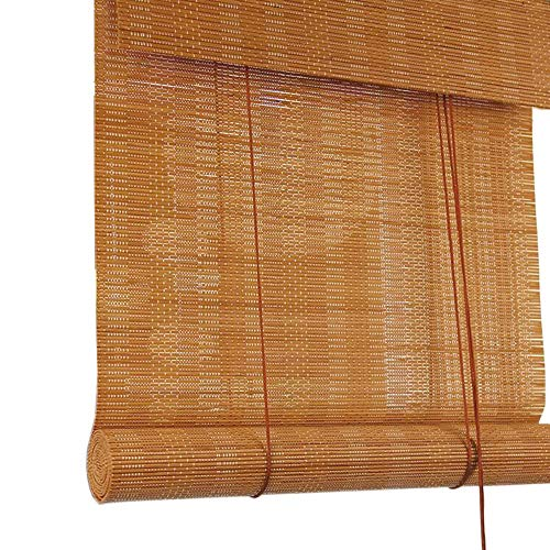 Jcnfa-Roller Shades Bamboo Roller Blinds, Natural Roman Shades for Window, Light Filtering Roll Up Curtain, Oriental Furniture Burnt Bamboo, with Valance, Size Can Be Customized