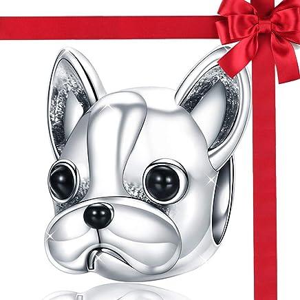 TIANXIN Abalorio de Mujer de Plata de Ley, Bulldog francés - Granos de los Animales de Moda para Las Mujeres Pulsera del Encanto del Perro Accesorios de la joyería Mejor Regalo