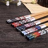 5 Paar Set Essstäbchen Japanische Natur Chopsticks aus umweltfreundlichem Bambus-Holz in edler Schatulle Geschenkbox(Cat) - 6