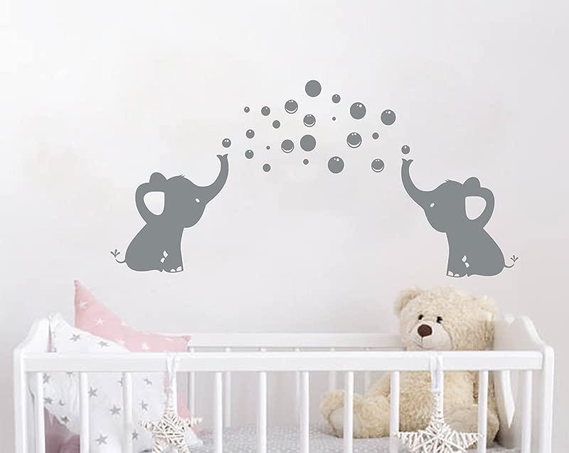 LHKSER Cute Family Elephant Spit Bubbles Wall Decals Nursery Decor Kids Wall Sticks Gray