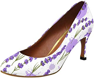 InterestPrint Classic Dress Pumps Soft Walking High Heels US5-US11