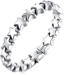 BAMOER 925 Sterling Silver Stars Ring Size 6-9 for Women Girls Engagement Rings Gifts