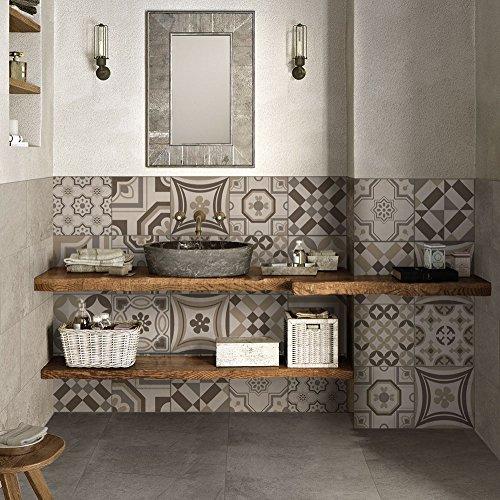 Paquete de 24 pegatinas de PVC para decoración de azulejos, de vinilo para baño y cocina, 10 x 10 cm, fabricadas en Italia, PS00151