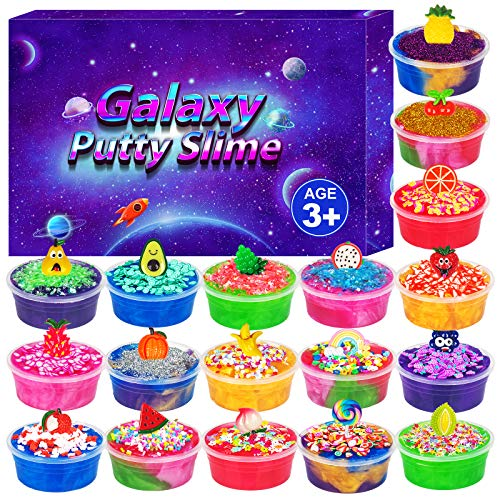 DUJUANHUA DIY Galaxy Slime Kit,Slime Supplies for Girls Boys Toys with Slime Charms and Add ins,Includes Fruit Slice,Glitter Powder,Pineapple,Rainbow,Squeeze Stress Relief Toy