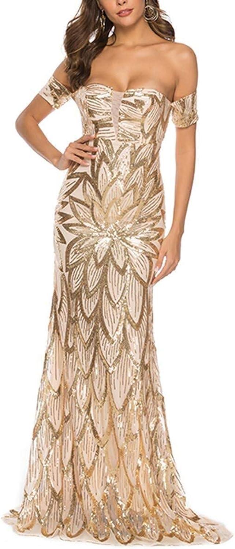 Bademode rmelloses Cocktail Club Dress Gold Elegante Formale Partei Lange rcke Frauen sexy Pailletten eine Linie Hals Schulter Dress, Bikinis (Farbe   Gold, Größe   XL)