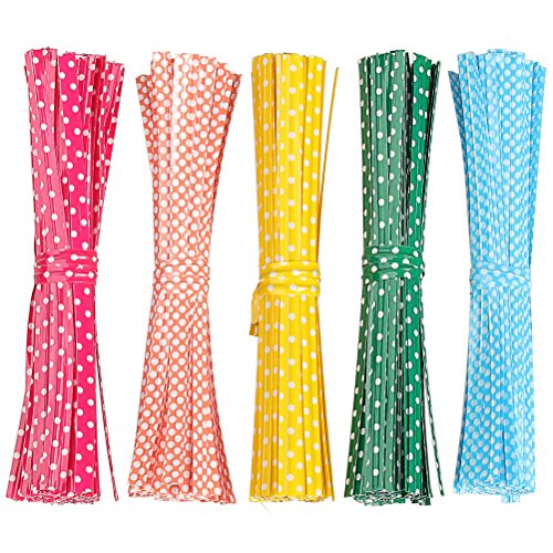 Pengxiaomei 500 Pcs 4 Inch bag Twist Ties, Colorful Bag Ties for Cellophane Party Bag