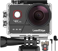 【新型】LeadEdge アクションカメラ 4K/30FPS 1080P/60FPS 高画質 2000万画素 SONYセンサー 2インチIPS液晶画面 対角170度広角レンズ EIS手振れ補正 外部マイク対応 リモコン付け WlFl搭載 40m...