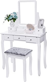 BEWISHOME Vanity Set with Mirror & Cushioned Stool Dressing Table Vanity Makeup Table 5 Drawers 2 Dividers Movable Organiz...