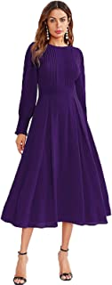 Women's Elegant Frilled Long Sleeve Pleated Fit & Flare Dress