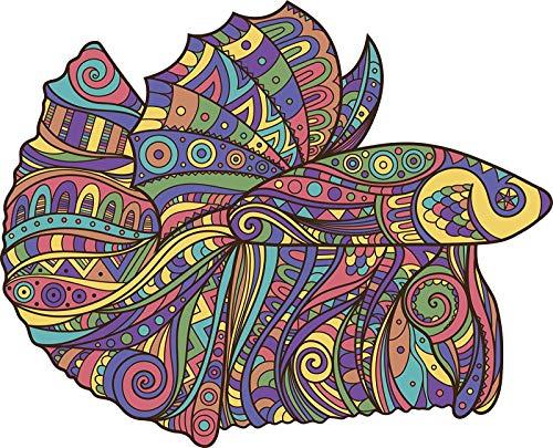 EW Designs Rainbow Tribal Pattern Betta Fish Cartoon Icon Vinyl Decal Bumper Sticker (4' Wide)