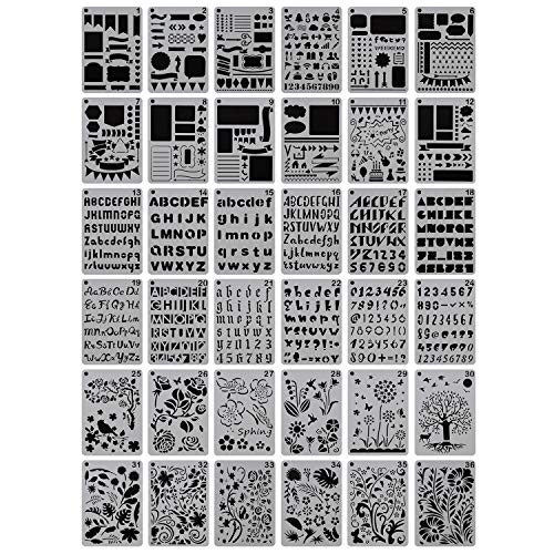 YUEAON 36-Pack 5 x 7 Drawing Stencils Floral Letter and Number Template Stencil for A5 Bullet Journal Scrapbooking Notebook Dairy Planner Craft