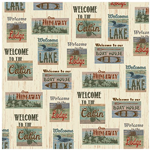 Rustic Fabric Patchwork Look Welcome to the Lake, Lodge, Cabin, Hideaway, Boat House Shower Curtain 70 X 70 in