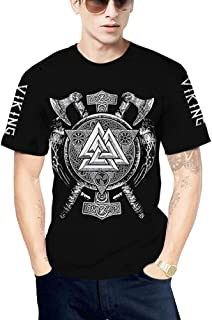Vikings 3D Digital Printed T-Shirt,Nordic Men's Vintage Summer Odin Runes Symbol Scandinavian Round Neck Pullover Tee Short-Sleeve Tops,Triangle a,5XL
