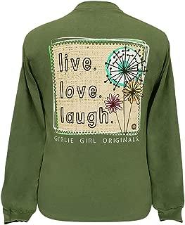 Girlie Girl Live Love Laugh Preppy Long Sleeve T-Shirt Adult