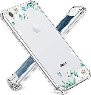 JOYLAND iPhone SE(2020)/8/7 ケース ソフトTPU クリア 耐衝撃 衝撃吸収 軽量 薄型 透明 全面保護 アイフォン8カバー レンズ保護 滑り止め ストラップホール付き 花