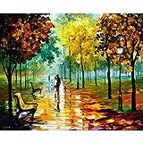 yiyiyaya Frameless Persische Miniaturmalerei Leinwand wandkunst schöne Landschaft Bild Herbst Ahornblatt spachtel ölgemälde handgemalte hohe qualität Home decoration-48x64inch