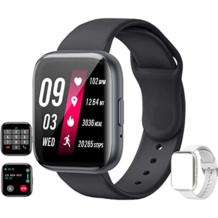 feifuns Smart Watch(Receive/Make Call) 1.54'' Full Touch Screen Fitness Tracker with Life Water-Resistant Heart Rate/Blood Pressure/Oxygen Pedometer Sleep Track for Women Men Android iOS Phone (Black)