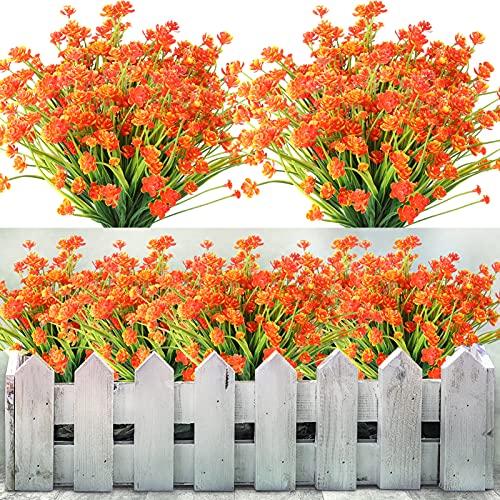 Omldggr 5 buntar konstgjorda blommor utomhus, plastblommor falska grönska buskar växter för hängande planterare hem bröllop trädgård dekor (orange)
