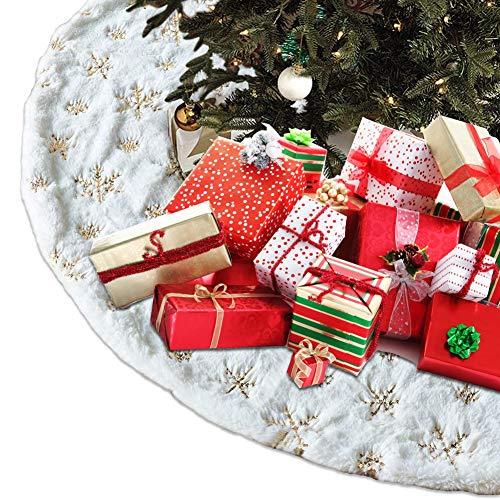 CHEPL Weihnachtsbaum Rock 31 Zoll Weiß Kunstfell Weihnachtsbaum Röcke Runde Rock für Weihnachtsbaumständer für Weihnachten Party Urlaub Heimdekoration
