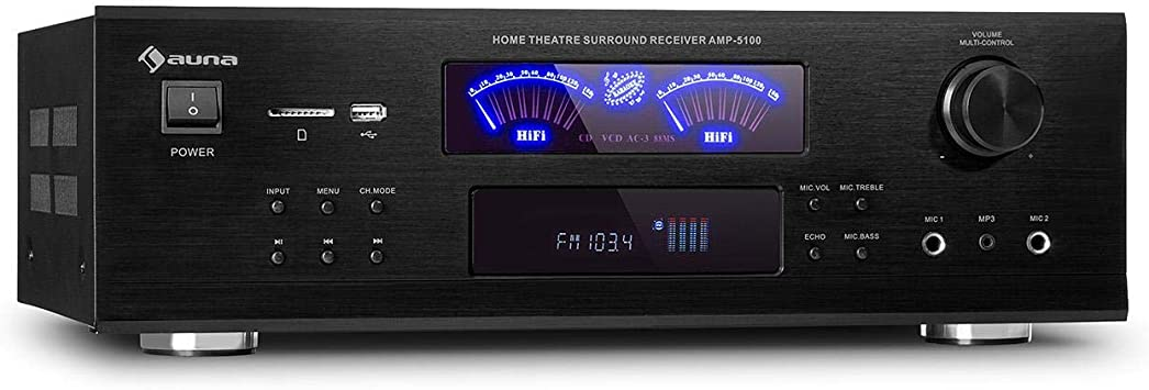 auna AMP 5100 BT 5.1 - Amplificador, 2 x 120 W + 3 x 50 W RMS, Bluetooth, Puerto USB, Ranura SD, 2 Conectores de micrófono, Entrada AUX, 2 vúmetros, ...