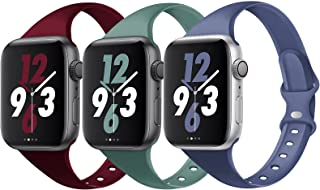 Acrbiutu Bands Compatible with Apple Watch 38mm 40mm 42mm 44mm, Slim Thin Narrow Replacement Silicone Sport Accessory Stra...