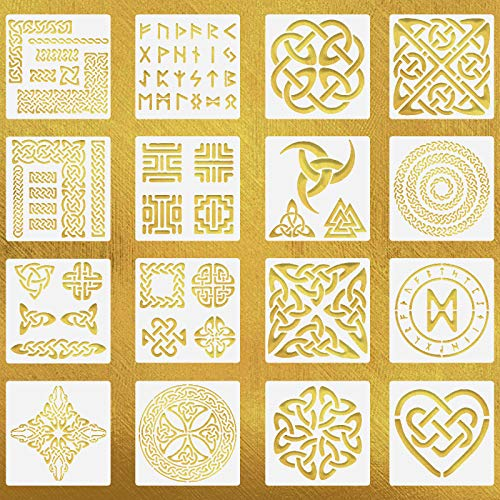 16 Pieces Celtic Knot Stencils 7.87 Inch Viking Symbol Painting Templates Reusable Celtic Symbol Stencil DIY Scrapbooking Drawing Template for Wall & Furniture Decoration