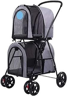 Pet stroller Double Pet Stroller,Four-Wheeled Pet Stroller,Pet Stroller, Pet Stroller,for Small and Medium Pets (Color : Grey)