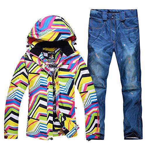 AXIANNV Frauen-Skianzug, Satz-Snowboarding-Kleidungs-Mädchen-Abnutzungs-im Freiensport-wasserdichte Winddichte Schneejackenhosen, Blue Jeans-Hose, S