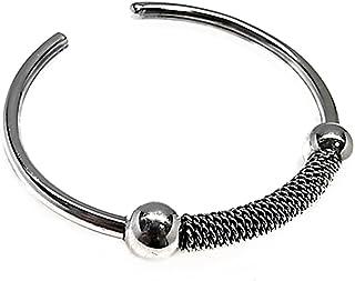 Act 925M Silver Bracelet Rigid Tube Oxidized Balls [Ab3576]