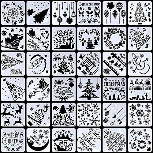 Firtink 36 Stück Schablonen Weihnachten Zeichenschablonen Malschablonen aus Kunststoff für DIY Bullet Journal Album Scrapbooking Papier Karte Deko