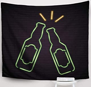 Crannel Christmas Beer Bottle Glass Neon Light Glowing Red Green Yellow Colour Bright Design Sign Tapestry 50x60 Inches Wall Art Tapestries Hanging for Dorm Room Living Home Decorative