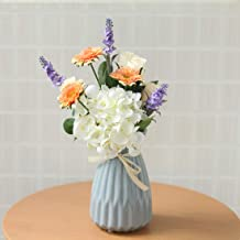Devalook Artificial Fake Plants Flowers Bouquet Vase Included Decoration for Table Home..