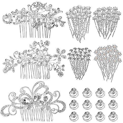 LYTIVAGEN 55 Stück Perlen Haarschmuck Kristall Haarnadeln Hochzeit Haarspangen Haarklammern Perlen Blumen Haarkamm Haare Brautschmuck Haarspiralen Strass Haar Curlies für Frau Mädchen und Braut