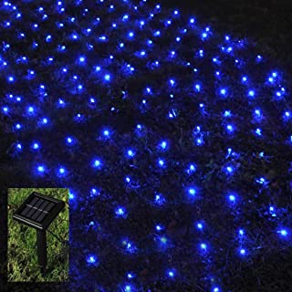 BMOUO 1Mx2M 120 LEDs String Lights Net Mesh Lights, Waterproof Solar Net Led String Lights for Outdoor, Gardens, Homes, Dancing, Christmas Party (Blue)