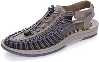 HXSD Male Sandals Breathable Outdoor Fabric Webbing Sandals Perforated Hollow Elastic Knit Non-Wearing feet, Durable (Color : Gray, Size : 6.5 UK)