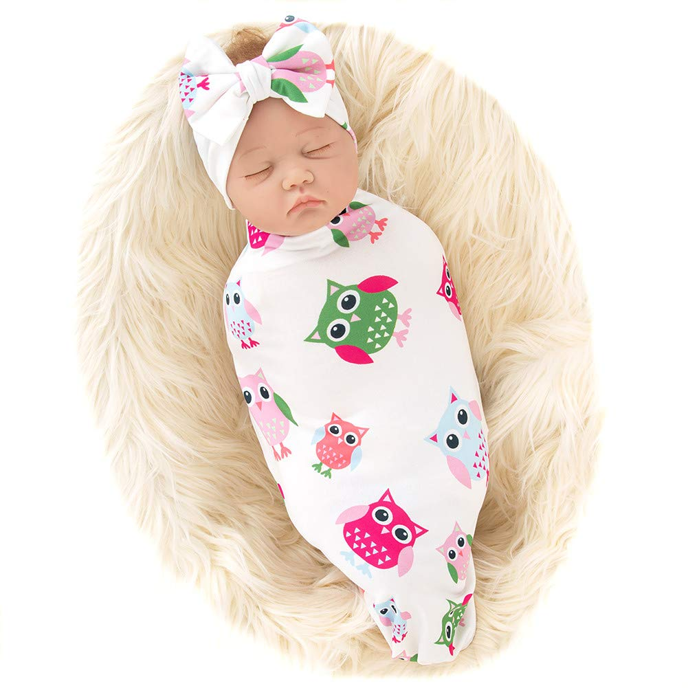 Galabloomer Newborn Receiving Blanket Headband Set Baby Flower Rose Swaddle with Big Bow