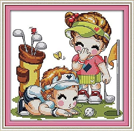 C060 Guardian Girl, Size 10x11 Happy Forever Cross Stitch Kits 11CT Stamped Patterns for Kids and Adults DIY Preprinted Embroidery kit for Beginner Pure Childhood