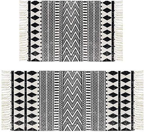 Pauwer Cotton Area rug Area Interna Tessuta Rag Rag con Frange Nappa Lavabile in Lavatrice Tappeto Tappeto per Camera da Letto Soggiorno Cucina (60x90cm + 60x130cm) (Diamante Nero, 60x90cm+60x130cm)