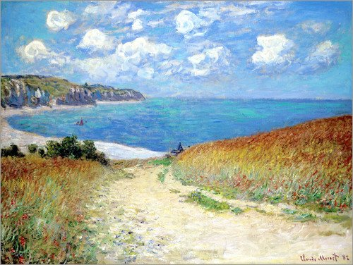 Poster 70 x 50 cm: Strandweg durch den Weizen bei Pourville von Claude Monet - hochwertiger Kunstdruck, neues Kunstposter