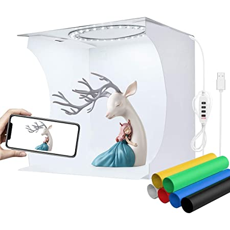 White BELONGME Mini Photo Light Box Lightweight Photo Studio Shooting Tent Kit with 40pcs LED Lights and 6 Colors Backdrops for Small Products Folding Dual Light-bar Light Box Photography