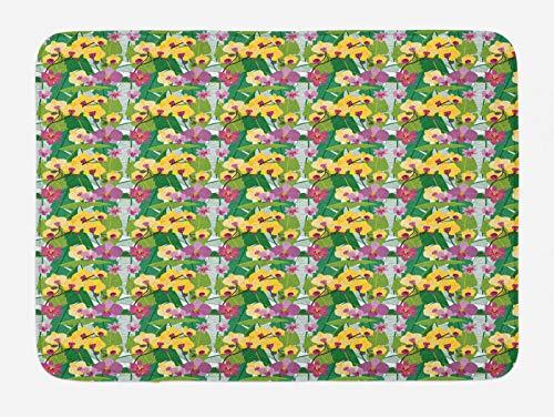 ABAKUHAUS Aloha Tapete para Baño, Hoja Floral Hawaiano Tropical, Decorativo de Felpa Estampada con Dorso Antideslizante, 45 cm x 75 cm, Verde Multicolor
