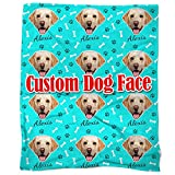 Nictimeid Your Dog Face Print on Blanket Throws - Custom Dog Mom Dad Gifts Blanket, 50'X60'