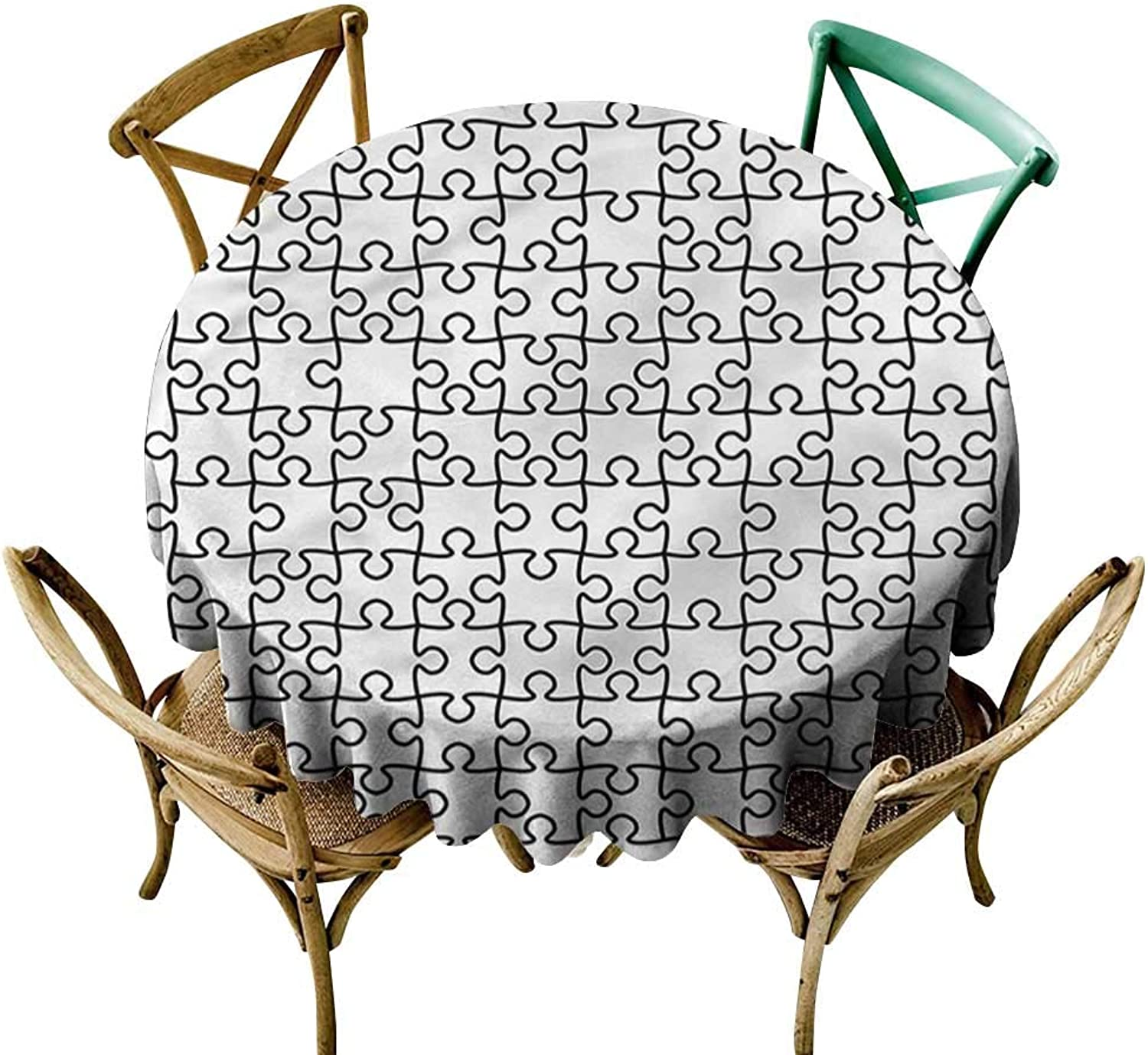 Familytaste Black and White,Tablecovers Jigsaw Puzzle Game D 60  Outdoor Picnics Round Tablecloth