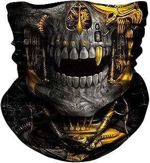 Skull Face Mask, BonneChance Neck Gaiter 3D Tube Mask Magic Scarf Headwear Headband Balaclava Wrist Band Sun Dust Wind Protection Seamless Bandana Half Face Mask Skeleton Motorcycle Fishing Hunting
