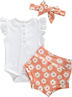 3Pcs Newborn Baby Boys Girls Romper Set, Leopard & Floral & Letter Printed Romper + Pants + Headband Clothes Outfits