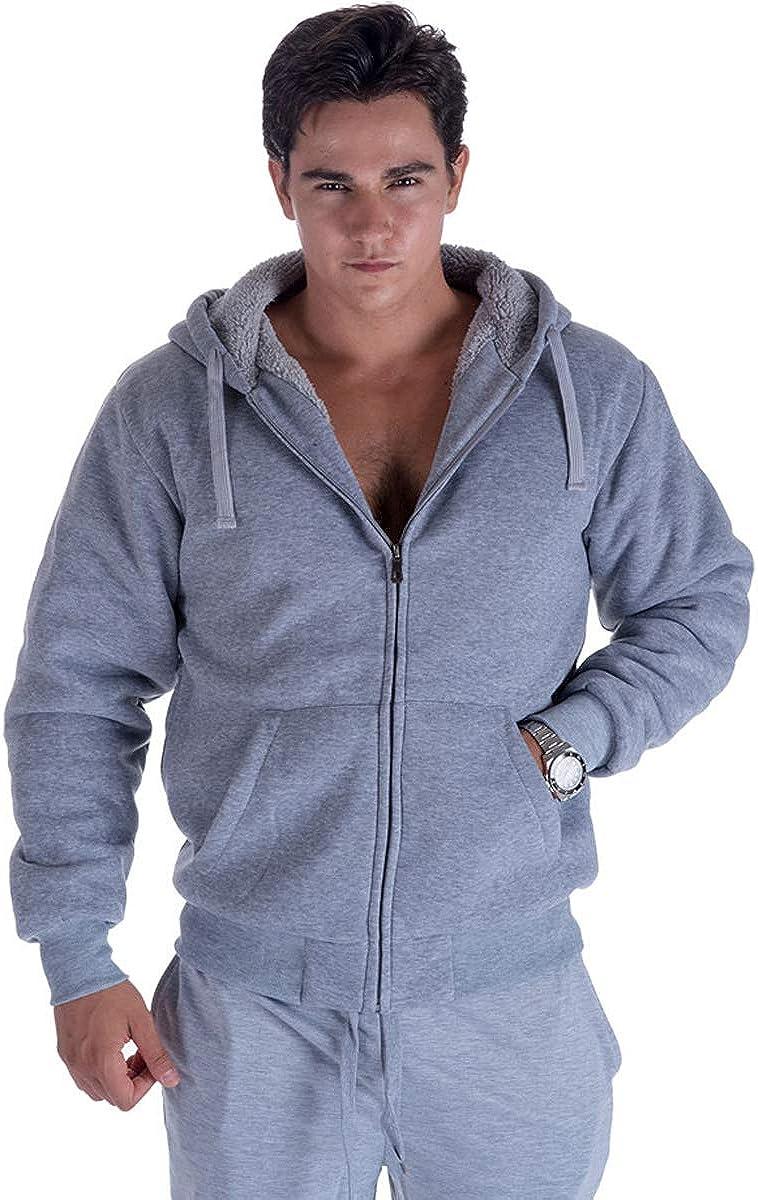 LeeHanTon Zip Up Sherpa Lined Mens Hoodies Heavyweight Outdoor Winter Fleece Sweatshirt Jackets