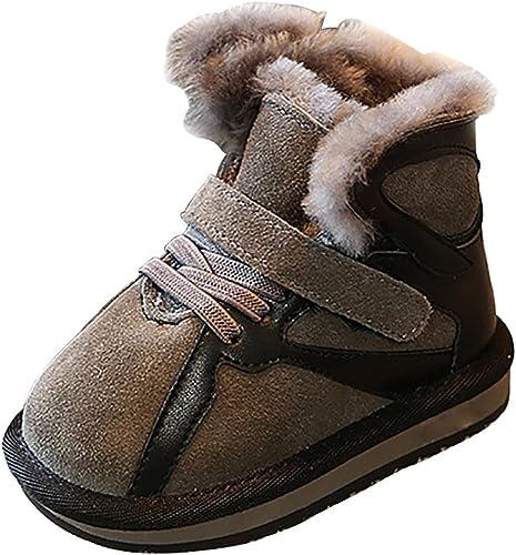 SYYAN Enfants Hiver Chaud cuir Frougeter Velcro MiNi Neige Bottes Loisir , gris , 24