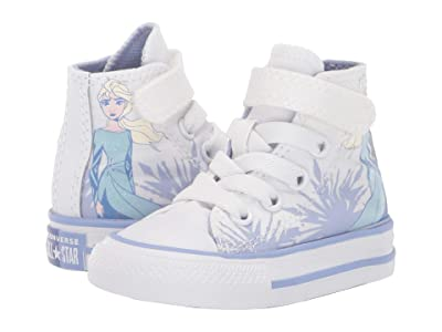 Converse Kids Chuck Taylor(r) All Star(r) 1V Frozen Collection (Infant/Toddler) ((Hi) White/Blue Heron/White) Girl