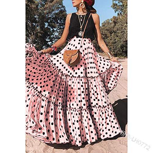 Rock Für Frauen,Vintage Maxirock Zigeunerkleid Lotusblatt Schwarze Punkte Rosa Taille Elegantes Kleid Für Sommer Mädchen Damen Party Büro Strand Hochzeit, XXXXL