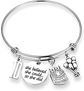 TOGON Birthday Gift She Believed She Could Bracelet Sweet 16 18th 21th Happy Birthday Jewelry Gift for Daughter Best Friend Teen